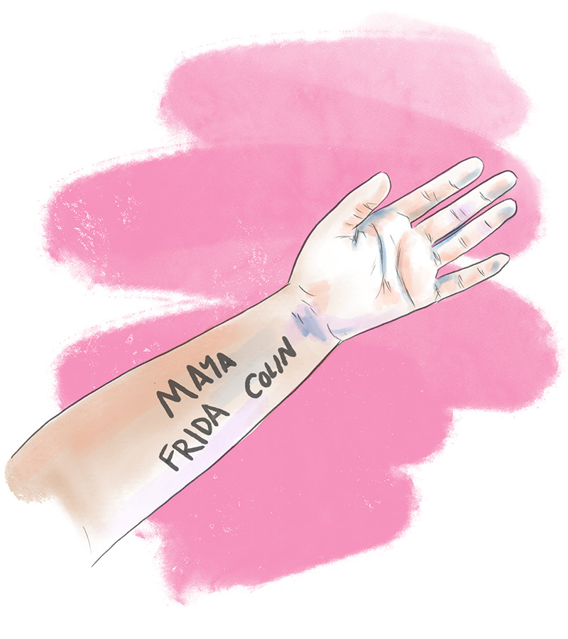 Illustration of the names 'Maya,' 'Frida,' and 'Colin' written on Marcela's arm.