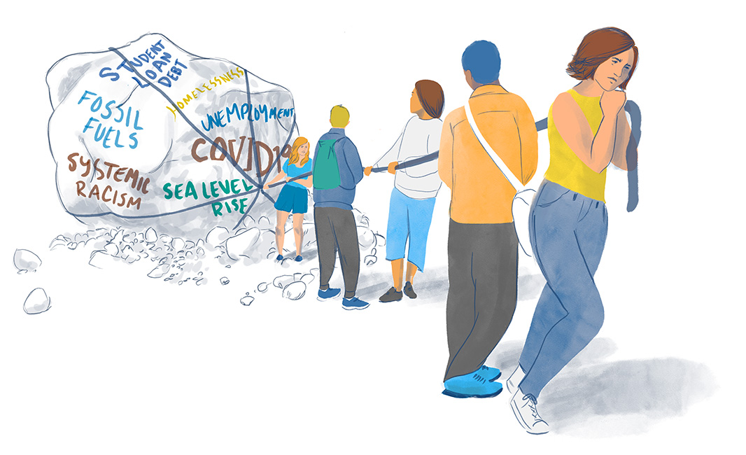 Illustration of five people collectively pulling on a rope to drag a giant boulder with the words 'student load debt,' 'fossil fuels,' 'systemic racism,' 'homelessness,' 'unemployment,' 'unemployment,' 'COVID-19,' 'sea level rise' written on it.