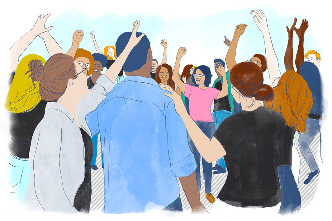 Illustration of organizers cheering, smiling, and dancing.