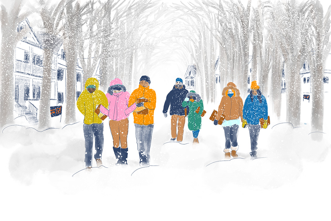 Illustration of seven youth clad in winter gear, holding clipboards, walking in a snowy landscape as snow falls.