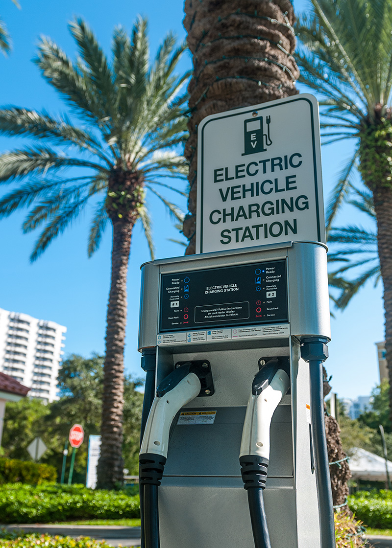 A public electric charging station.