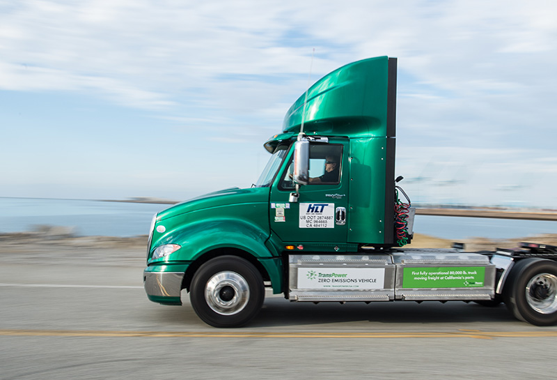 An electric heavy duty truck used to move freight at the Port of Long Beach, Calif.