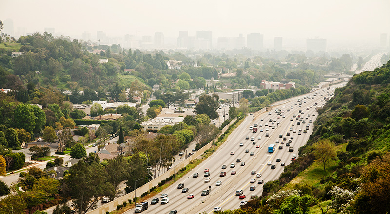 Smog clogs the air around the 405 freeway in Los Angeles.