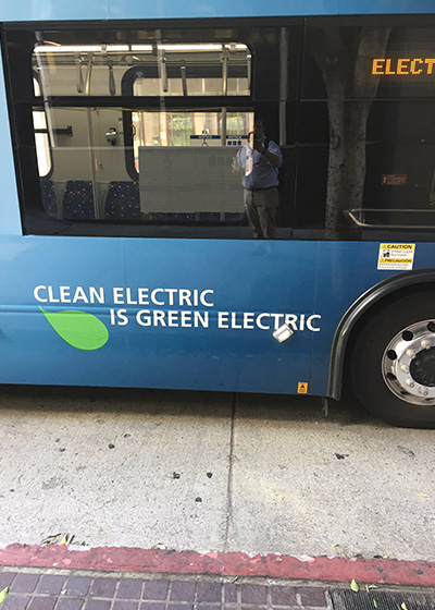 Electric bus in Los Angeles.