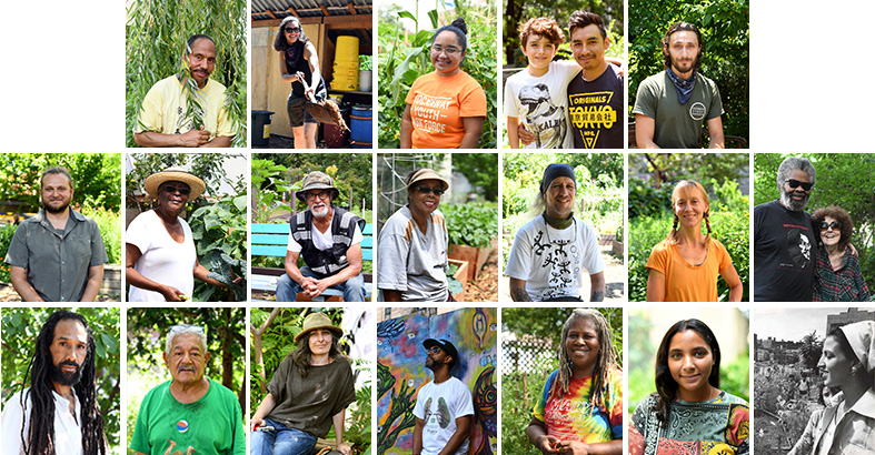 Portraits of community gardeners from The Bronx, Brooklyn, Queens, Harlem, and Manhattan.