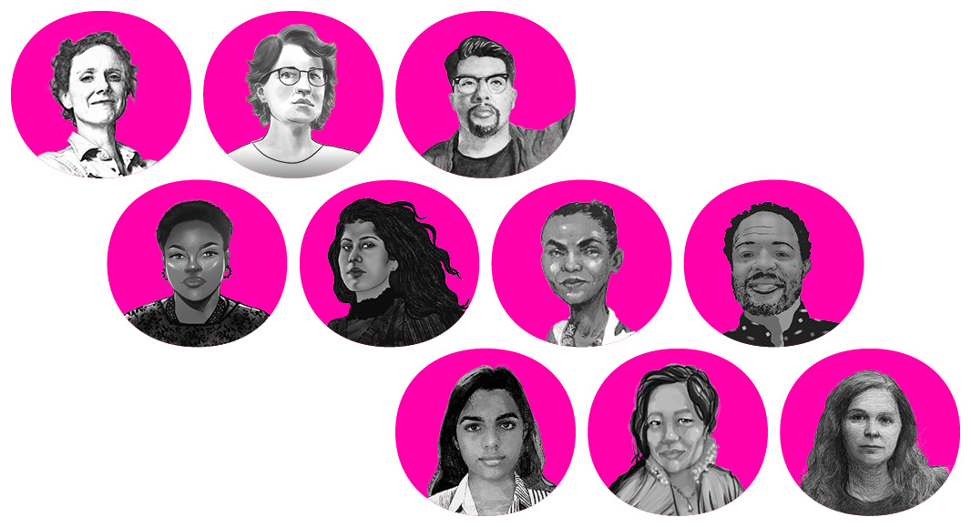Illustrative portraits of the men, women, youth, nonbinary, Black, Brown, and Indigenous people who are tackling climate change, systemic racism, and extreme inequality.