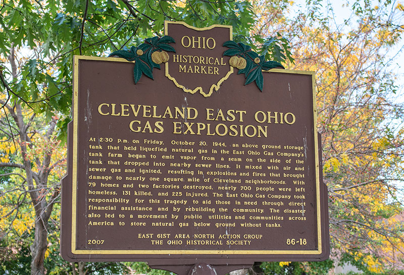 Historical marker in Grdina Park, Cleveland, near the original site of the tank farm.