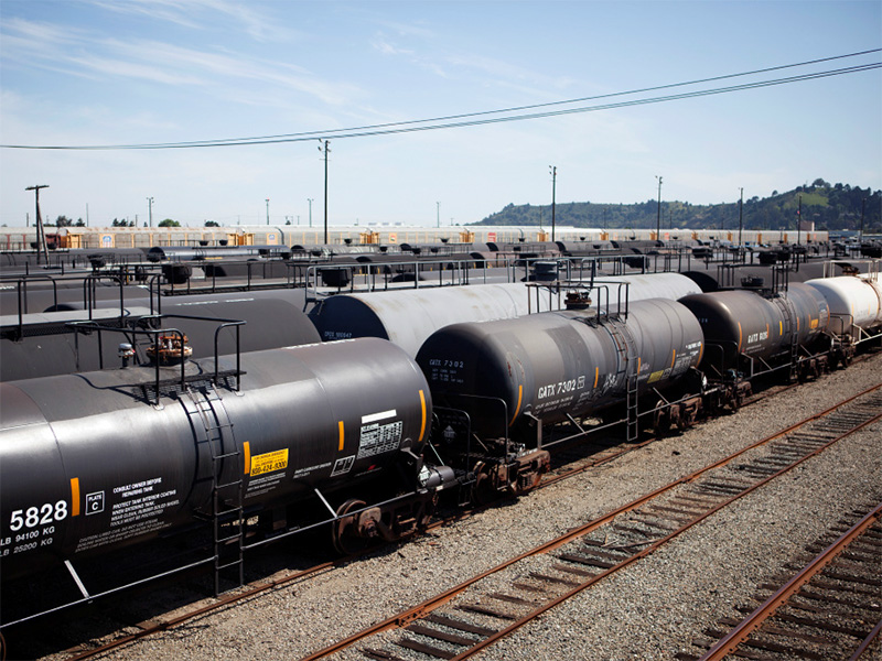 Tanker rail cars.