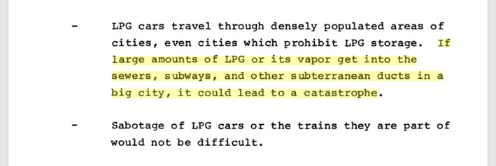 If large amounts of LPG [liquefied petroleum gas] or its vapor get into the sewers, subways, and other subterranean ducts in a big city, it could lead to a catastrophe.