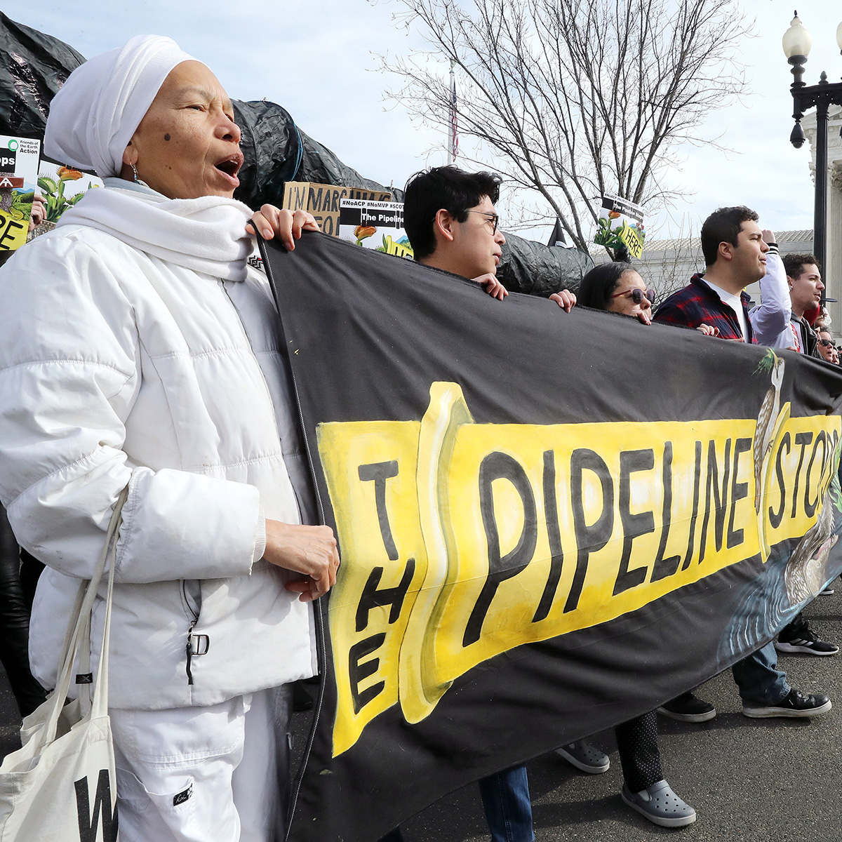 Activists speak out at the U.S. Supreme Court, as oral arguments are heard on Feb. 24, 2020, in the Atlantic Coast Pipeline case.