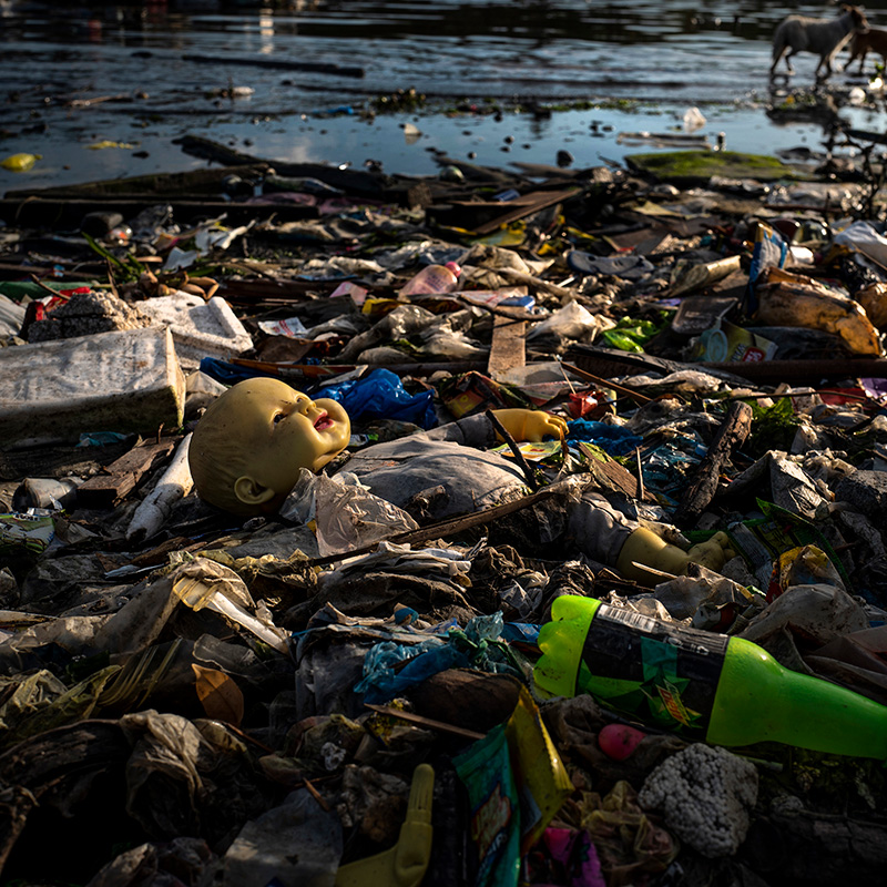 Plastic waste fills a beach on in Manila, Philippines.