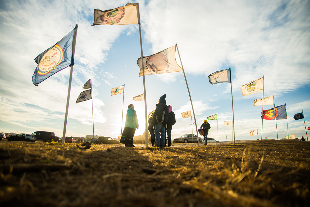 Flags at the Sacred Stone Camp, Nov. 16, 2016.