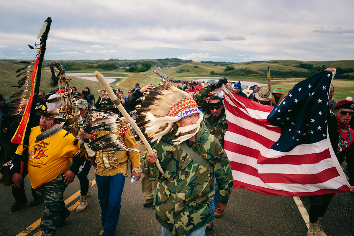 Water protectors march to stop a working site near the Dakota Access Pipeline, Sept. 2016.