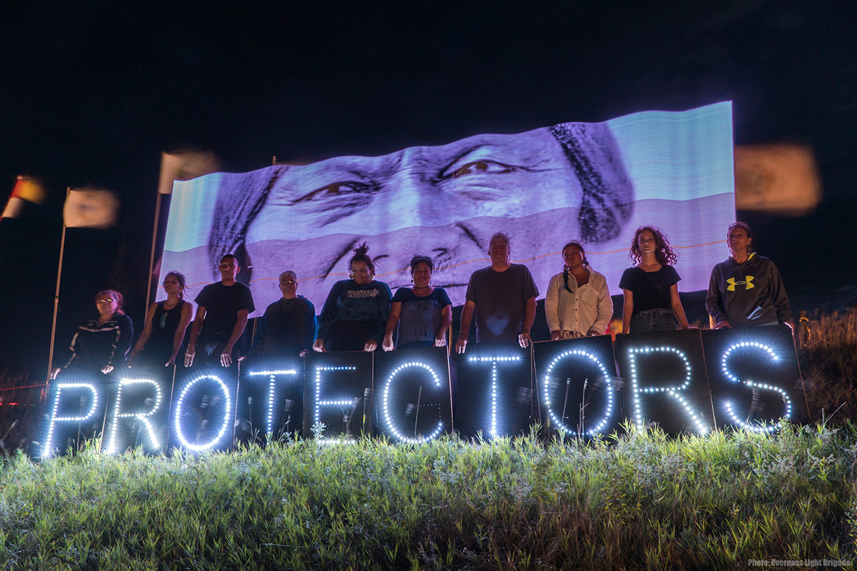 The Overpass Light Brigade at the Sacred Stone Camp, Nov. 28, 2016.