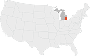 River Rouge, Michigan highlighted in red, on a map of the lower 48 states of the Unites States of America.
