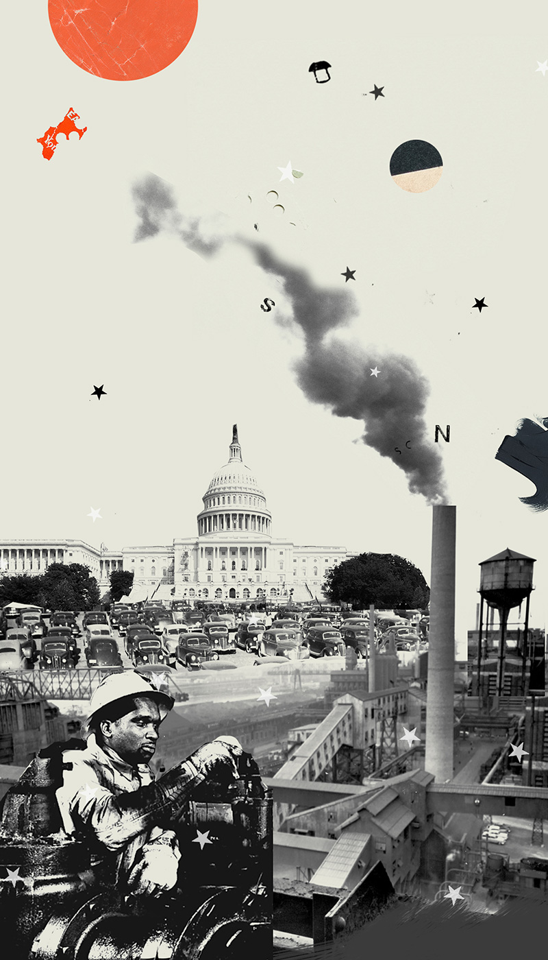 Black and white image of Capitol building in the background. Rows of cars. Smoke stacks. Worker in protective gear. A round orange sun on top.