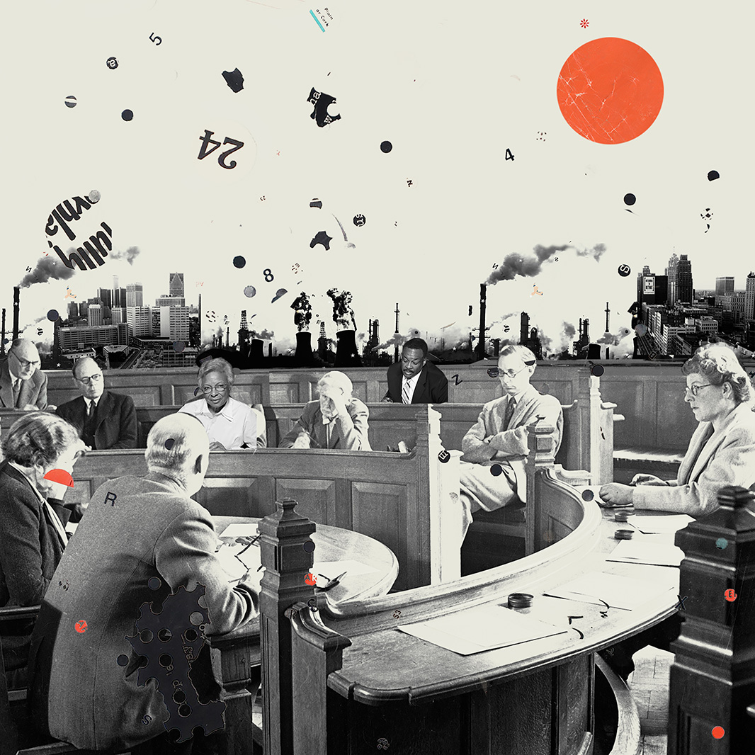 Black and white image of a group of people in a small courtroom with semi-circular benches facing the central table. Backdrop of industrial plants with exhaust bellowing out of smoke stacks. A round orange sun on the top right.