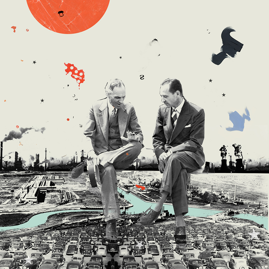 Black and white image of two men in suit and tie, sitting cross-legged, in discussion with one another. They sit on the horizontal intersection of industrial plants, spewing exhaust from smoke stacks, and rows of cars. An orange sun on top.