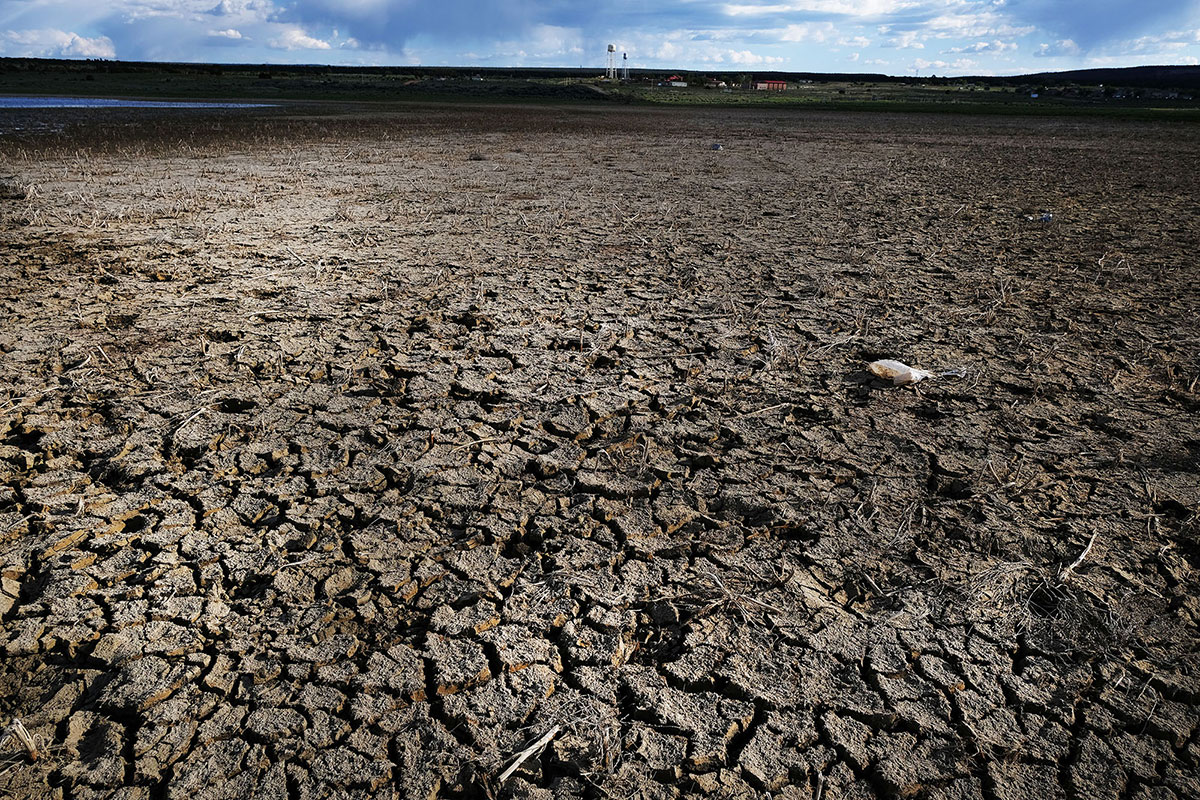 A dried out lake stands near the Navajo Nation town of Thoreau on Jun. 6, 2019, in Thoreau, N.M.