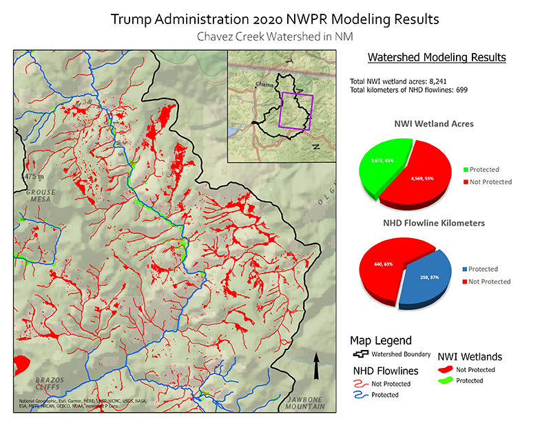 Protected Water and Wetland Modeling Results for Chavez Creek Watershed.