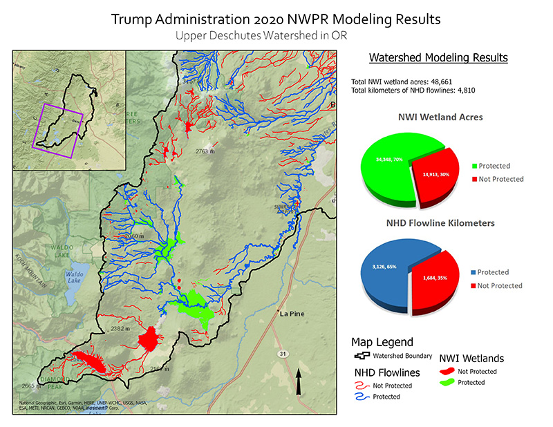 Protected Water and Wetland Modeling Results for Upper Deschutes Watershed.