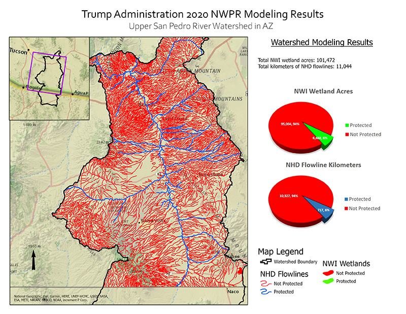 Protected Water and Wetland Modeling Results for Upper San Pedro Watershed.
