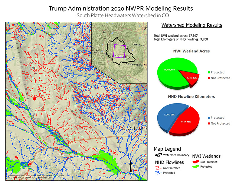 Protected Water and Wetland Modeling Results for South Platte Headwaters Watershed.