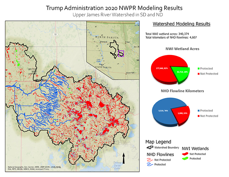 Protected Water and Wetland Modeling Results for Upper James River Watershed.