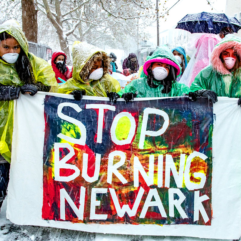 Newark children demand clean air instead of pollution from local incinerators.