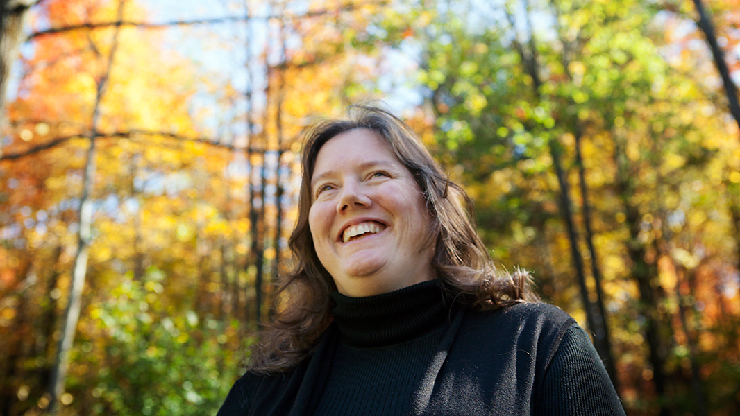 Helen Slottje in her backyard during the fall of 2013.