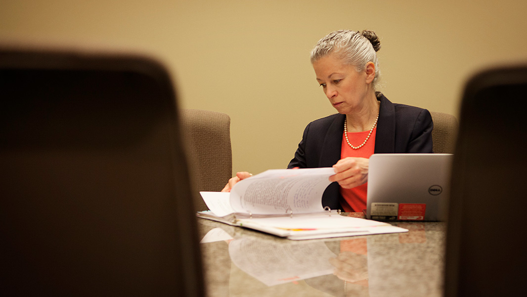 Earthjustice Managing Attorney Deborah Goldberg prepares for oral arguments in the Dryden court case.