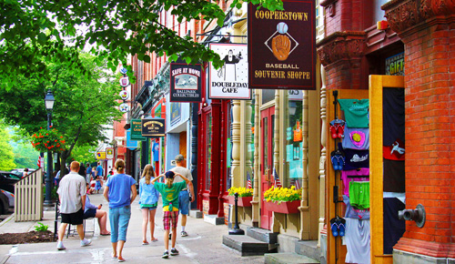 Cooperstown's iconic Main Street is filled with souvenir shops designed to attract the hundreds of thousands of baseball fans that come to the area each year. (Frank Forte)