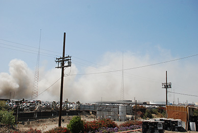 Scenes from the fire that Jesse Marquez discovered on June 5, 2012 at a California junkyard. (Jesse Marquez)