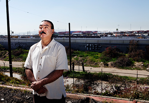 Jesse Marquez, near the southern California junkyard that burned for more than a day in 2010. (Chris Jordan-Bloch / Earthjustice)