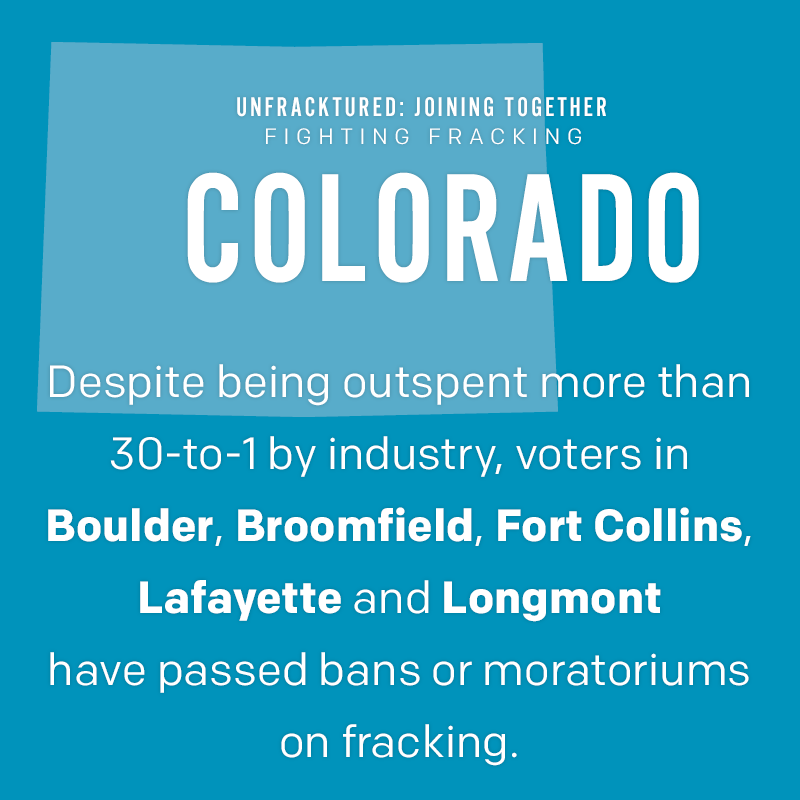 Colorado: Despite being outspent more than 30-to-1 by industry, voters in Boulder, Broomfield, Fort Collins, Lafayette and Longmont have passed bans or moratoriums on fracking.
