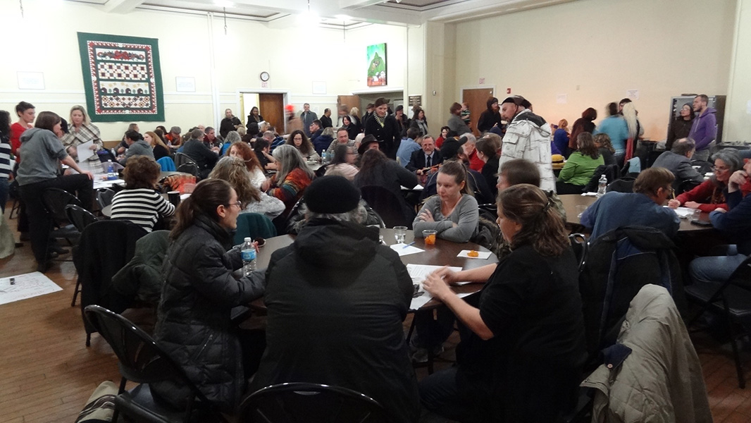 West Virginia citizens meet in a Charleston Community Church.