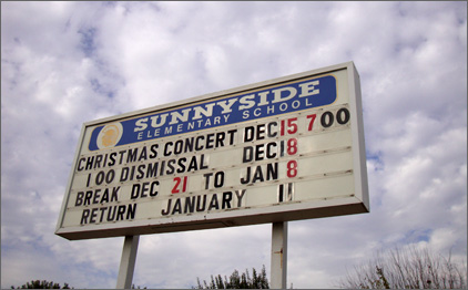 Photo of Sunnyside Elementary School sign.