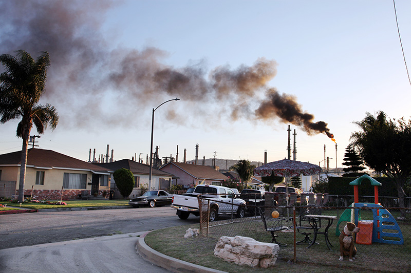 Flaring at an oil refinery in a Los Angeles neighborhood.