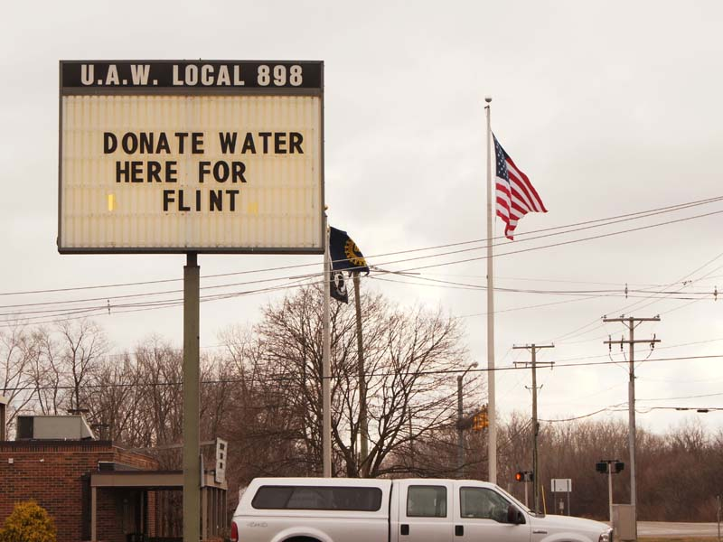 A sign asking for donations during the Flint water crisis.