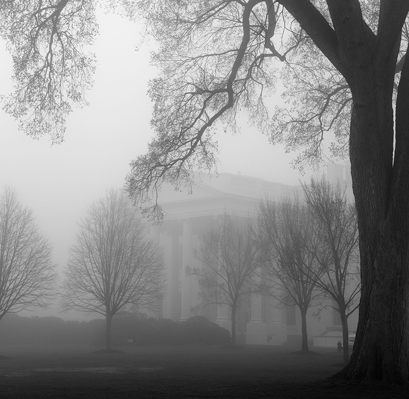 The White House, shrouded in fog.