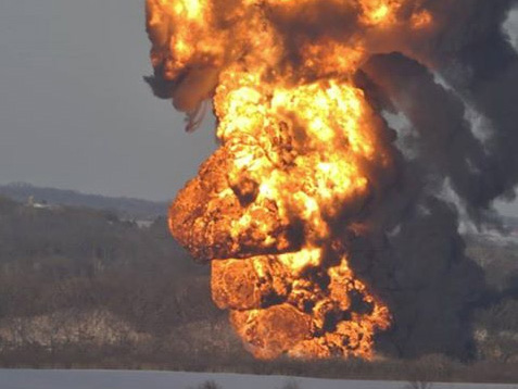 Towering flames were seen after the derailment near Galena.