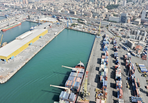 A busy commercial port on the Mediterranean in Genoa, Italy