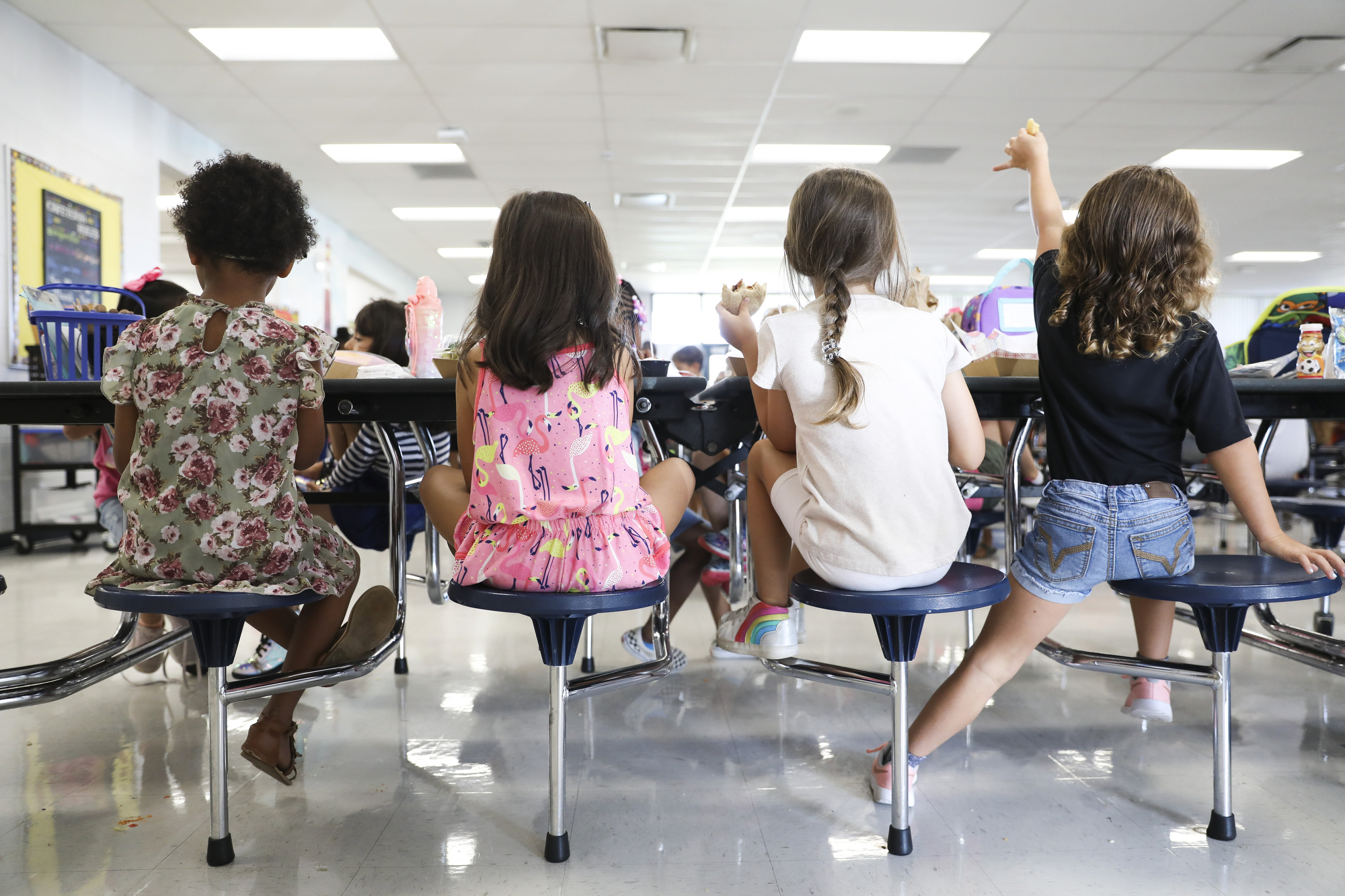 Students eat their lunch in the cafeteria at Doby Elementary School in Apollo Beach, Florida.