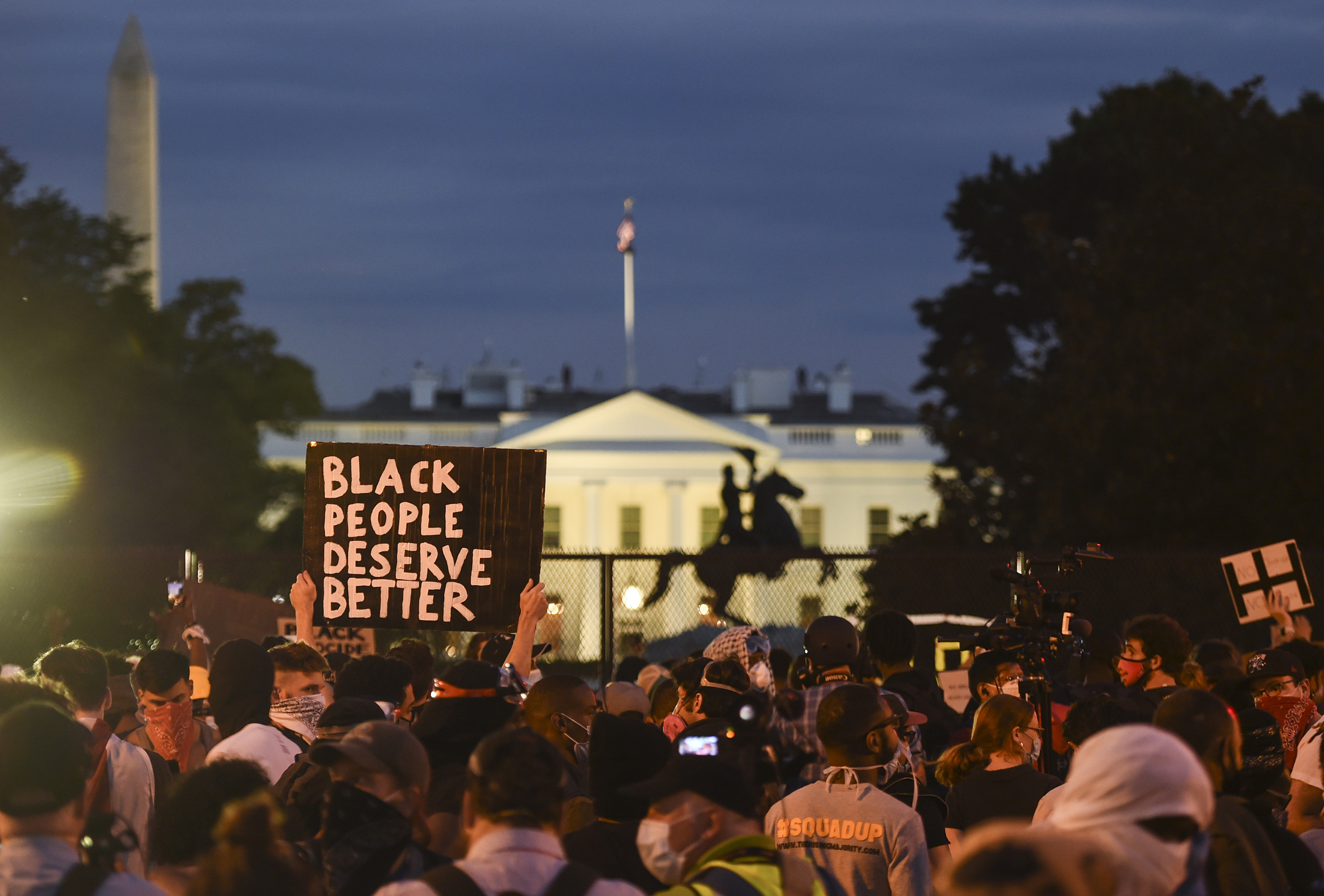 Demonstrators gather near the White House on June 3, 2020.