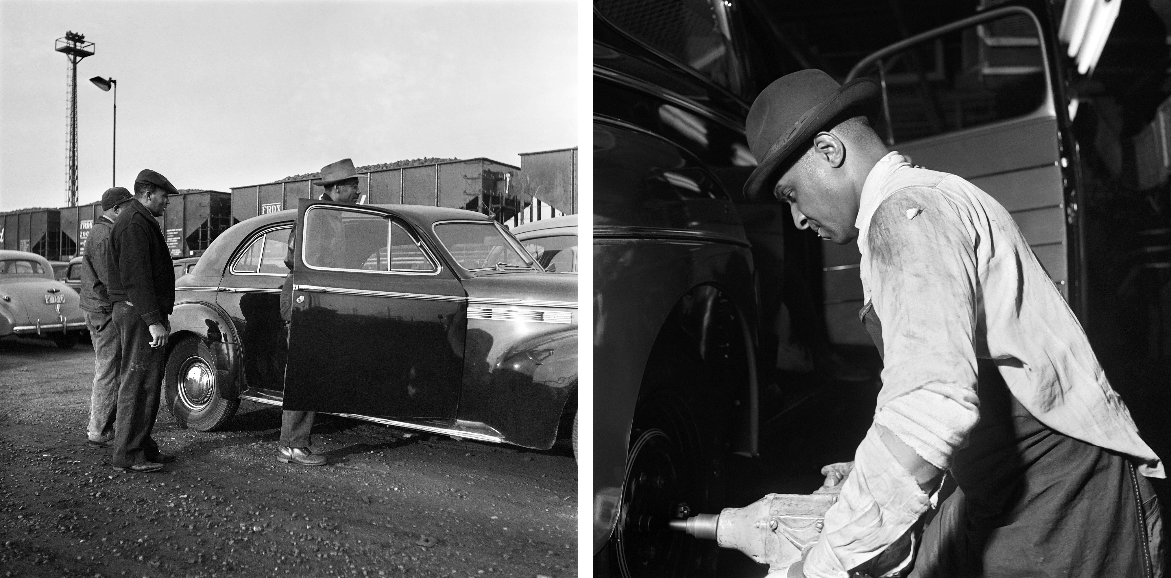 Left: A man works on an assembly line in 1946 at Ford's River Rouge Complex. Right: Workers arrive by car at the complex in 1946.