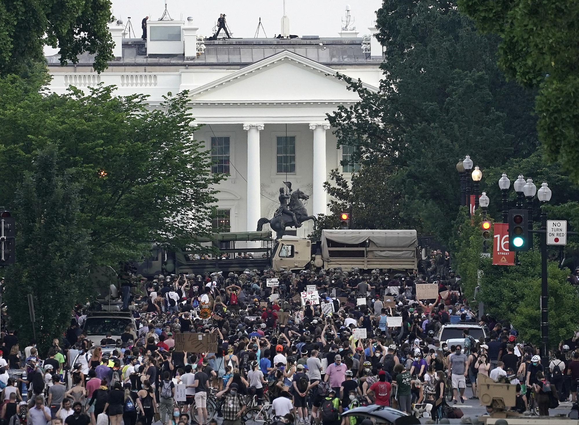 Demonstrators participate in a peaceful protest against police brutality and the death of George Floyd, on June 3, 2020 in Washington, D.C.