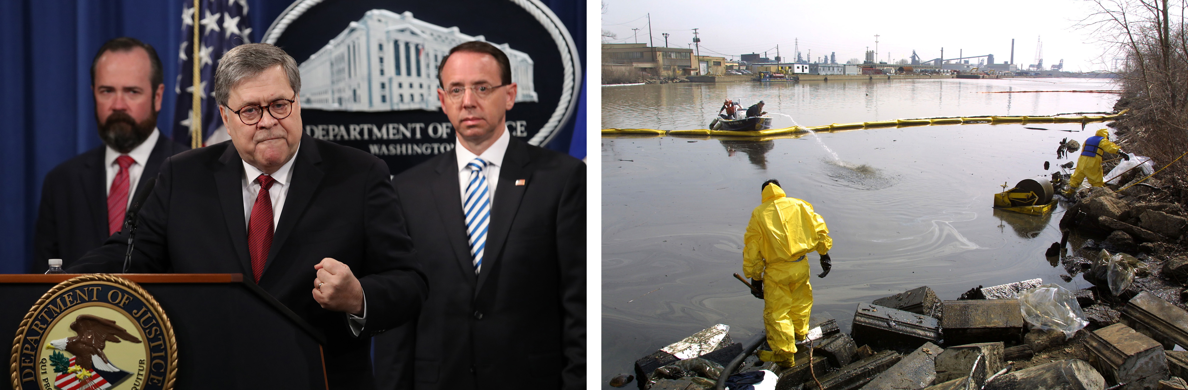 Left: U.S. Attorney General William Barr, speaking, heads the Department of Justice under President Trump. Right: Workers clean up part of a 10,000-gallon industrial-grade waste oil spill in the Rouge River in April 2002.