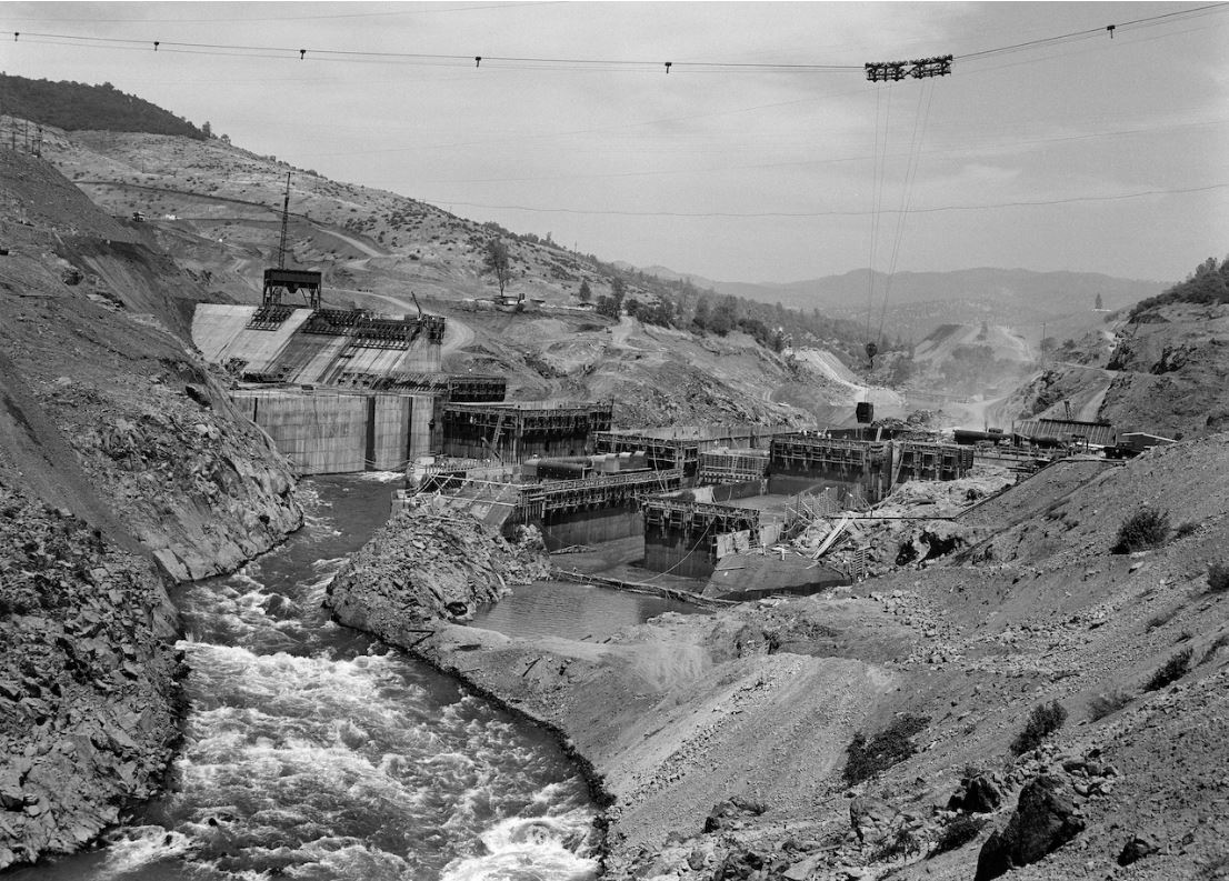 Historic photo of the Oroville Dam construction taken in 1963