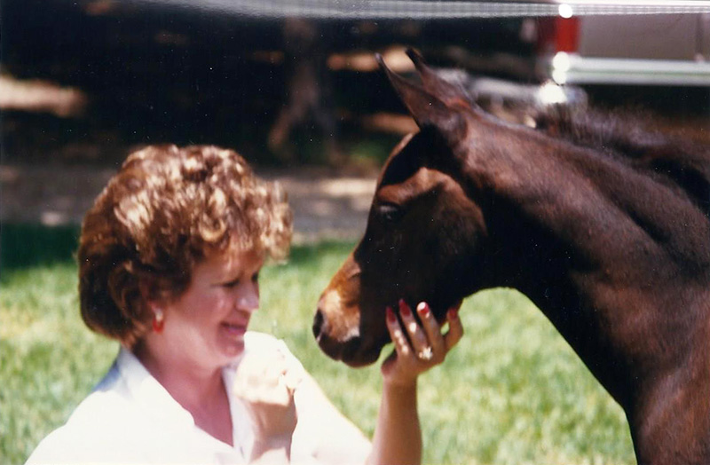 Sue, with one of her horses.