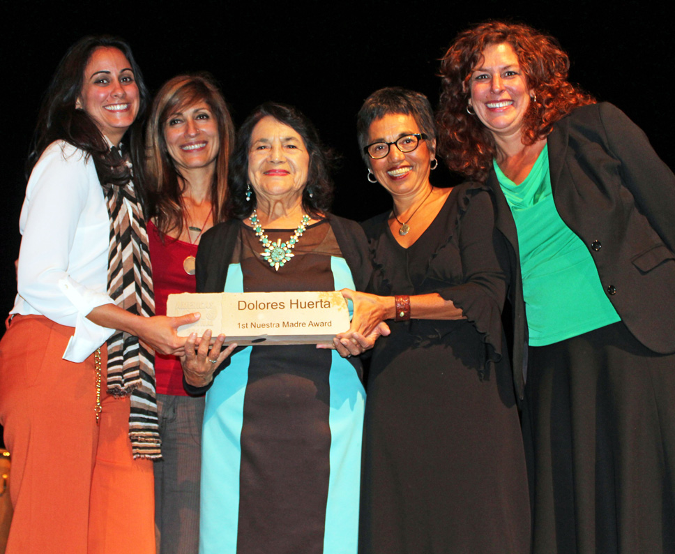 Farmworker activist Dolores Huerta receiving the first Our Mother award at the 2014 Americas Latino Eco Festival